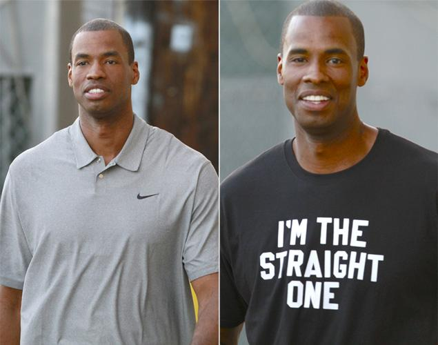 Are you the gay one? Jimmy Kimmel gives Jarron Collins T-shirt that ends any confusion