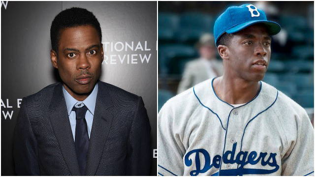 Chris Rock. (Photo by Dimitrios Kambouris/Getty Images) and Chadwick Boseman as Jackie Robinson in '42.' (AP Photo/Warner Bros. Pictures, D. Stevens)